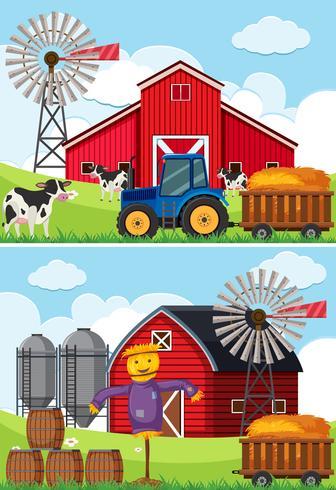 Deux scènes avec tracteur et épouvantail dans les fermes vecteur