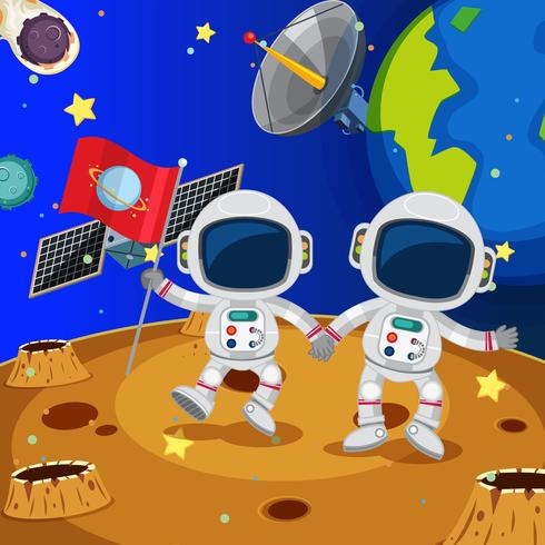 Deux astronautes explorant la planète vecteur
