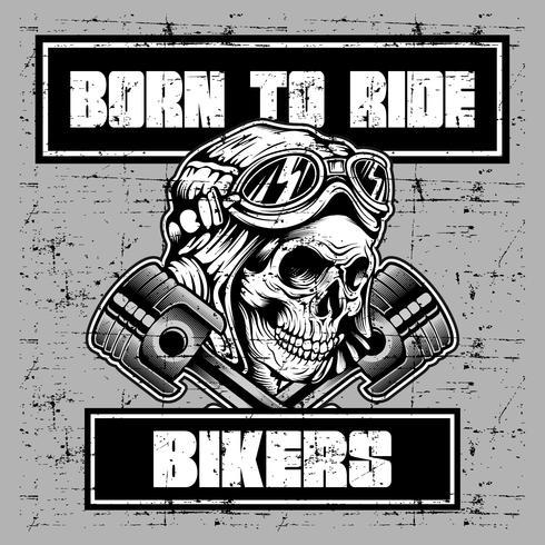 crâne vintage de style grunge portant casque rétro et texte né pour rouler vecteur