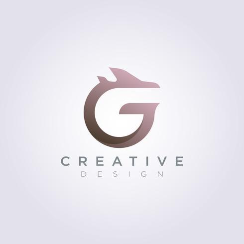 Lettre G avec avion Vector Illustration Design Clip art Symbole Logo Template