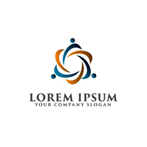 personnes réseau partenaires modèle de concept de logo design vecteur