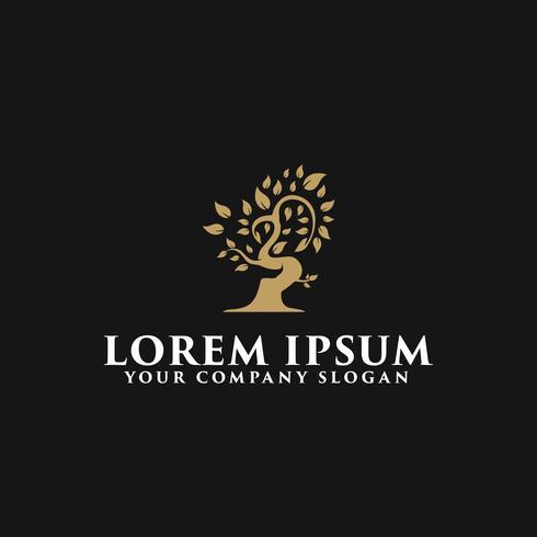 modèle de concept de design arbre de luxe logo vecteur