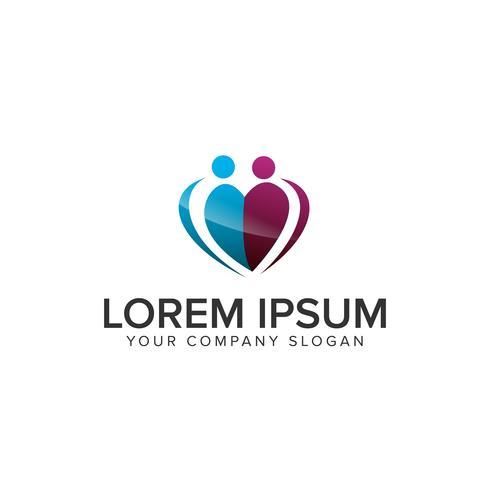 modèle de concept coeur personnes logo design vecteur
