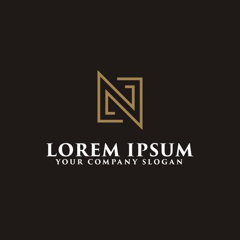 modèle de concept de design minimaliste lettre N logo vecteur