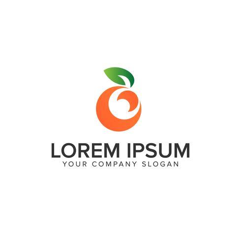 modèle de concept de design fruit orange logo vecteur