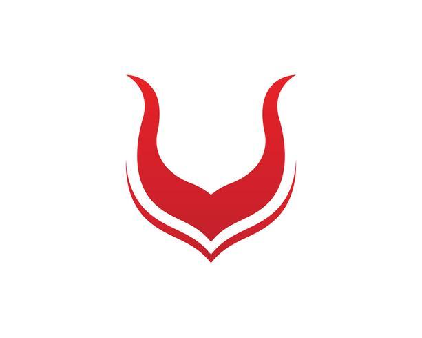 Application d'icônes de modèle logo et corne de taureau vecteur