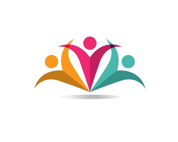 Adoption et soins communautaires Icône de vecteur de modèle de logo