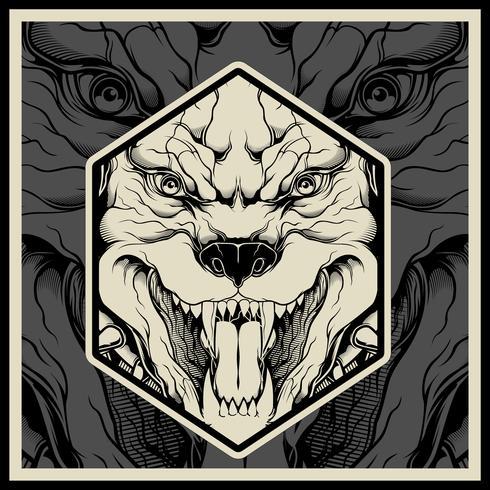 Illustration vectorielle Tête de mascotte de pitbull en colère, sur fond noir vecteur