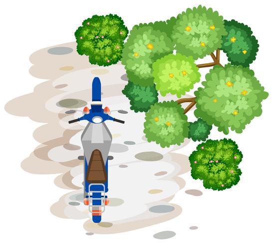 Vue aérienne de la moto vecteur