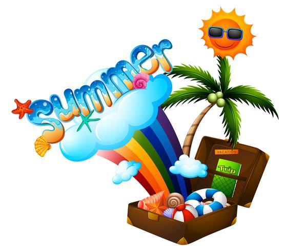 Thème d'été avec valise et soleil vecteur