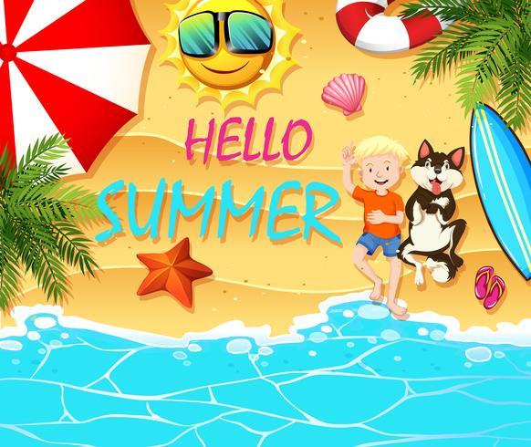 Thème de l'été avec garçon et chien sur la plage vecteur