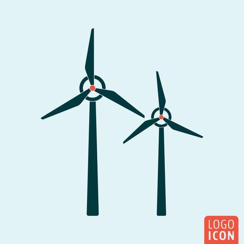 Icône de moulin à vent. Icône d'énergie alternative isolée, design minimal vecteur