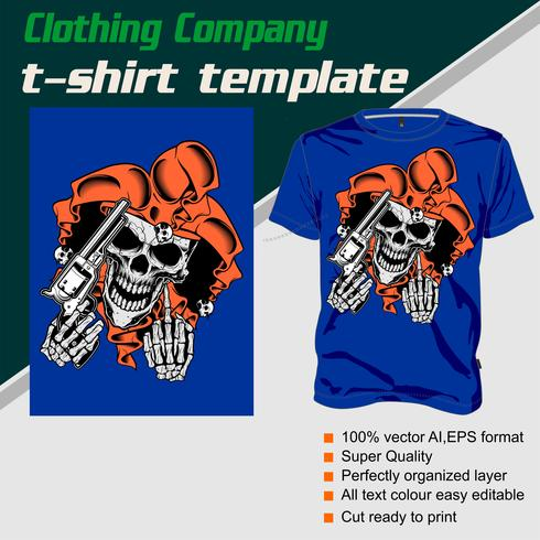 Modèle de t-shirt, entièrement éditable avec le vecteur crâne et arme à feu