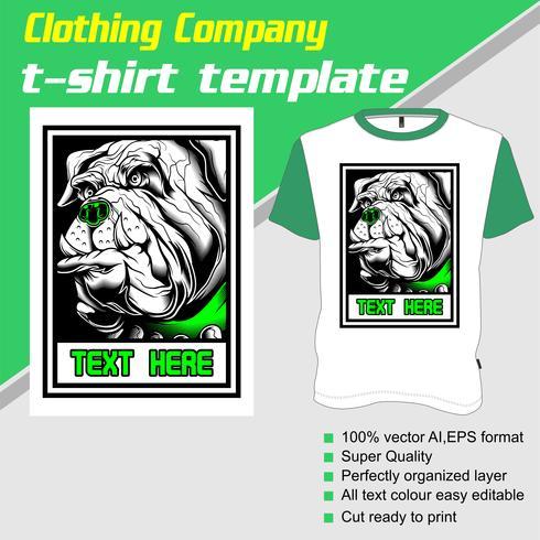 Modèle de t-shirt, entièrement modifiable avec le vecteur chien
