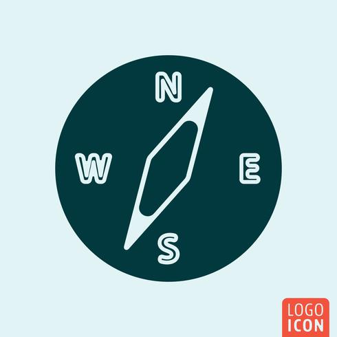 Icône boussole. Logo boussole. Symbole de la boussole. Conception d'icône minime vecteur