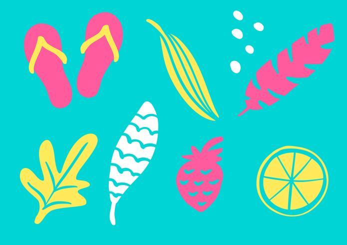 Collection tropicale pour feuilles, ananas, palmiers et fruits exotiques à la plage. Éléments de design vectoriel isolés sur fond blanc