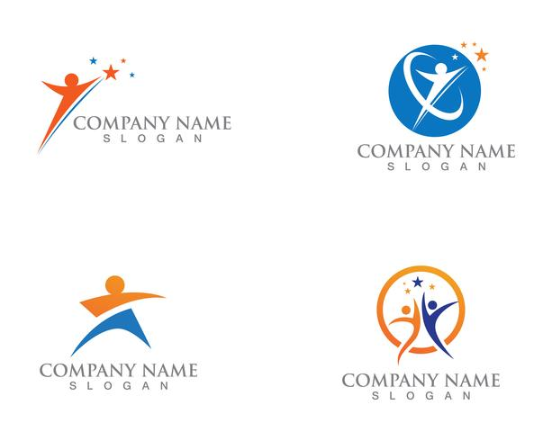 Gens étoiles Logo succès modèle vector icon design illustration
