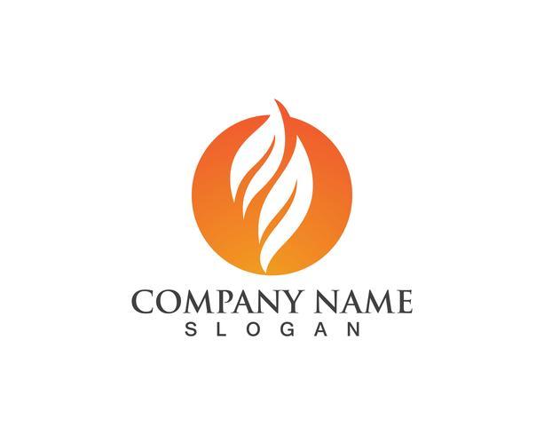 Icône de vecteur Logo flamme incendie pétrole, gaz et énergie