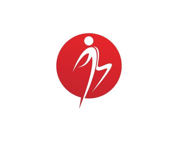 Les gens sautent logo et symboles de réussite de la santé vecteur