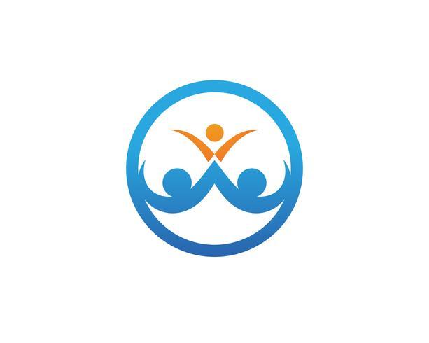 modèle d'amour de logo de soin de famille et de symboles. vecteur