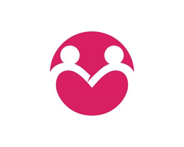 modèle de logo et symboles d'amour de soins familiaux ,, vecteur