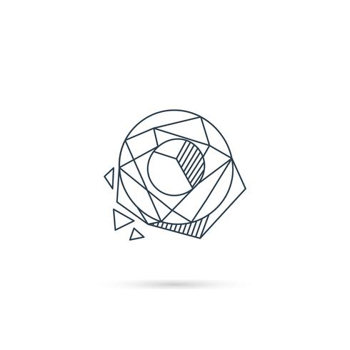 pierre précieuse lettre o logo design icône modèle vecteur élément isolé