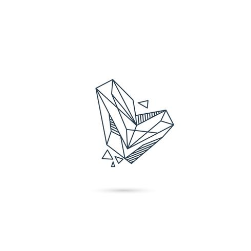 pierre précieuse lettre l logo design icône modèle vecteur élément isolé