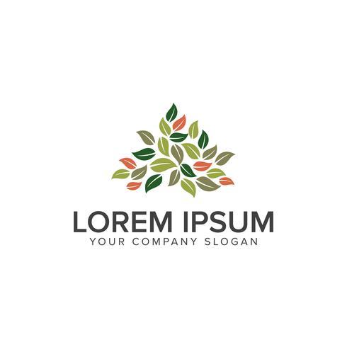 Modèle de concept de conception de logo de jardinage de feuilles vecteur