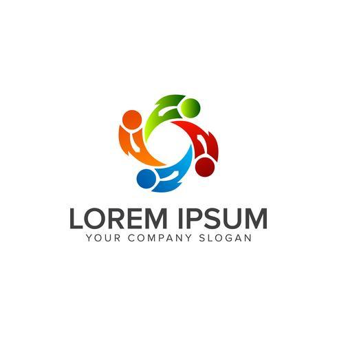 Logo de personnes travaillant en équipe. partenaires commerciaux logo design concept temp vecteur