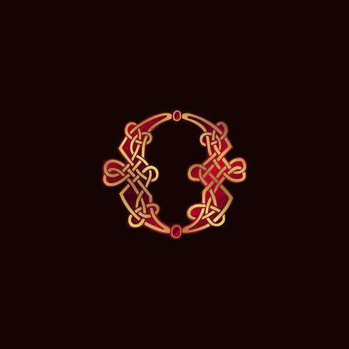 lettre de luxe O modèle de concept de conception de logo de décoration vecteur