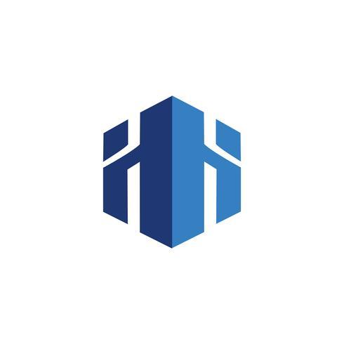 Modèle de concept immobilier logo lettre H vecteur
