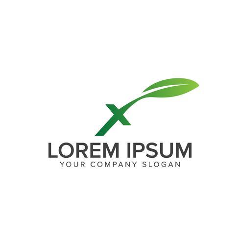 modèle de concept de lettre x nature logo design vecteur