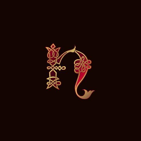 lettre de luxe N modèle de concept de conception de logo de décoration vecteur