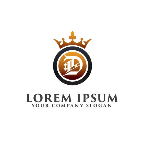 Lettre de luxe D Décoration avec modèle de concept de conception de logo Couronne vecteur