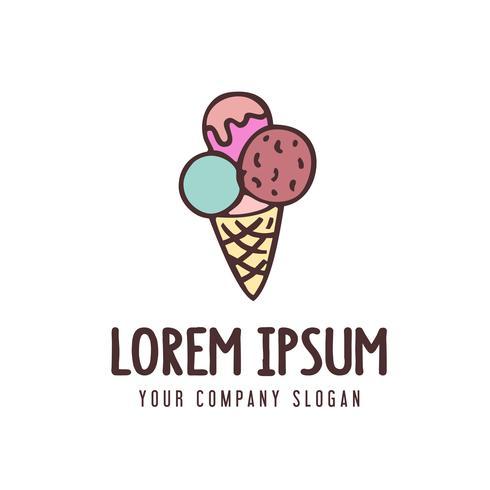 modèle de concept de logo crème glacée vecteur