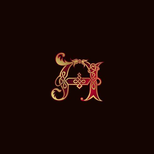 lettre de luxe Un modèle de concept de décoration Logo vecteur
