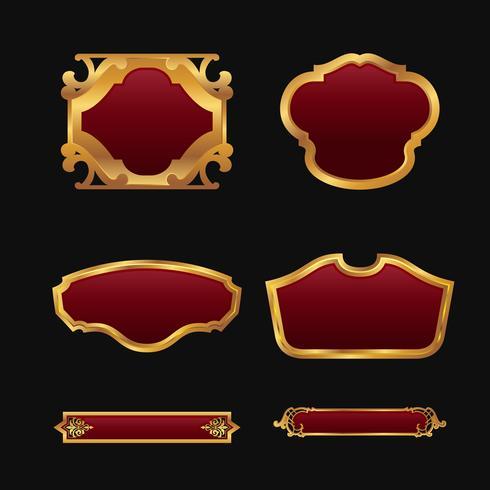 Étiquettes avec ensemble de collection de cadres décoratifs or rouge 3D vecteur