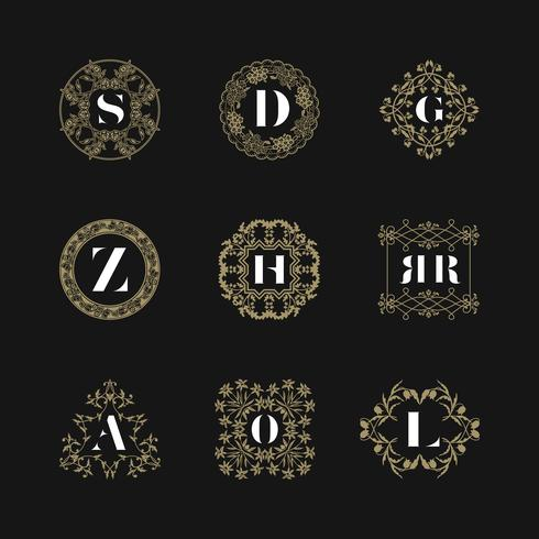 Ensemble d'insignes emblème monogramme. Vecteur d'ornement logo calligraphique
