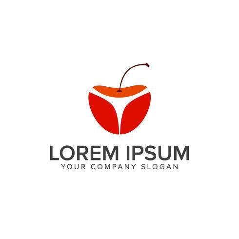 Modèle de concept de design logo fruits cerises vecteur