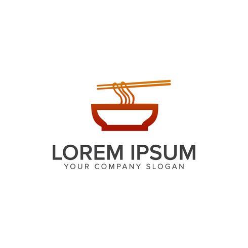 Logo de nouilles. Modèle de concept de design de logo de salle à manger vecteur