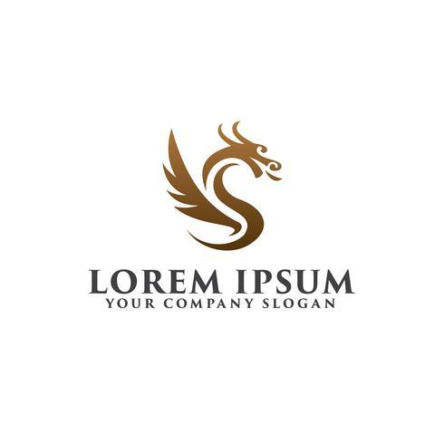 modèle de concept de logo luxe dragon logo vecteur