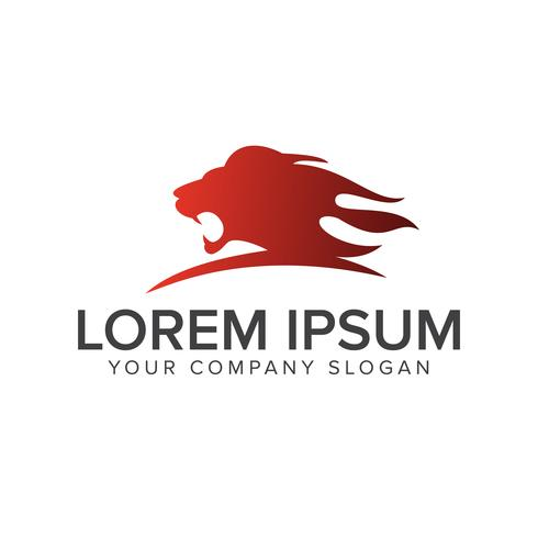 tête de lion rugissant modèle de concept de logo design vecteur