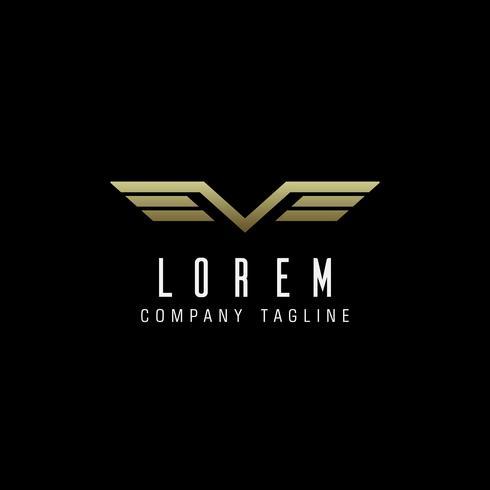 Lettre V ailes logo.luxury modèle de concept de design vecteur
