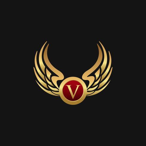 Modèle de concept de design logo luxe lettre V emblème ailes vecteur