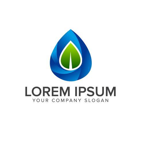 modèle de concept de conception logo feuille goutte d'eau vecteur
