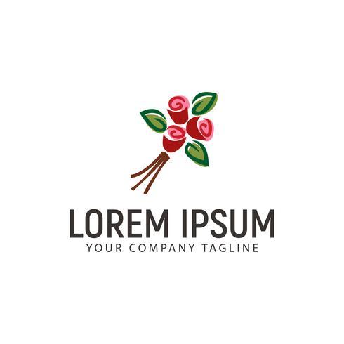 Logo de fleur dessiné à la main. modèle de conception de mariage vecteur