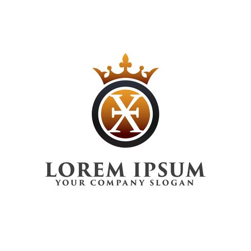 Lettre de luxe X avec modèle de concept de couronne Logo design vecteur