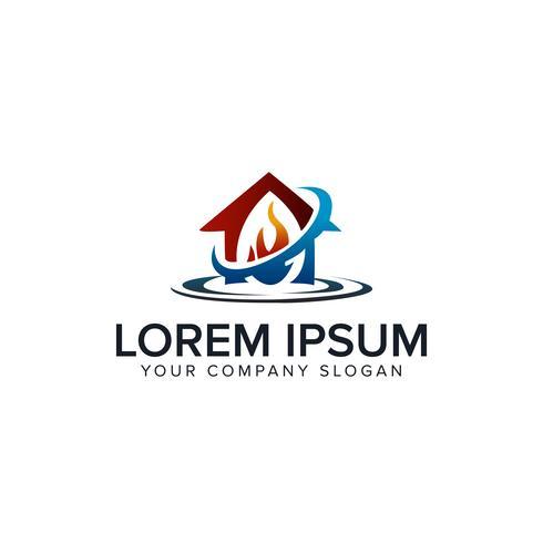 logo de soins de la maison. modèle de conception incendie eau vecteur