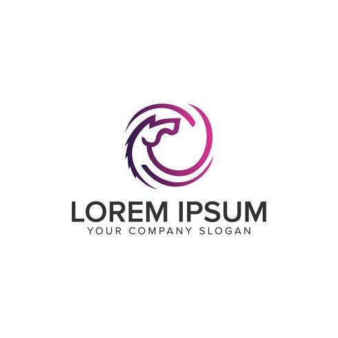 cercle de cheval modèle de concept de logo design vecteur