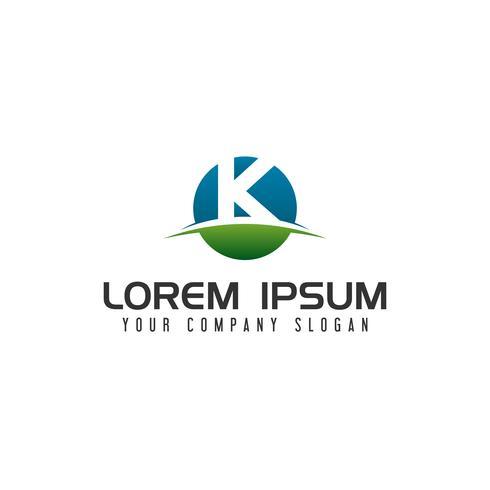 modèle de concept de lettre K cercle logo design vecteur